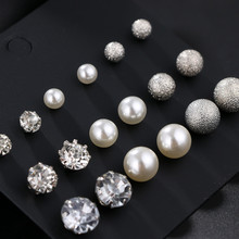 New 6 Pairs/Set Fashion Pearl Crystal Earring Set Different Size Round Shape Jewelry Gifts