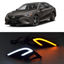 QINYI led drl daytime running light for Toyota Camry 2018 with yellow turn signal and wireless control цена в Москве и Питере