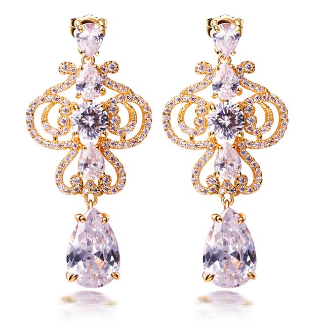 Red Crystal Dangle brincos para mulheres com prata Pin da jóia do casamento Gold filled definir Cubic Zirconia longo brincos flor