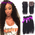 3 Bundles 7A Peruvian Human Hair Deep Wave With Lace Closure Free/2/3 Part Closure With Wet And Wavy Peruvian Virgin Hair Weave