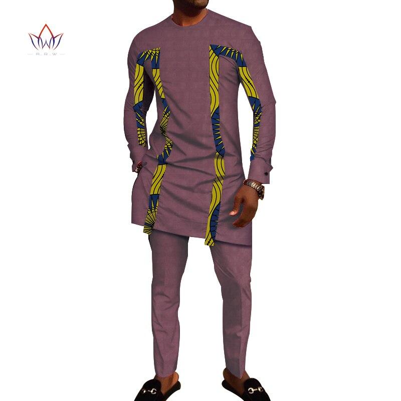 Bazin Riche hommes 2 pièces pantalons ensembles vêtements africains vêtements décontracté hommes Jacquard t-shirts et pantalons ensembles WYN710 - 6