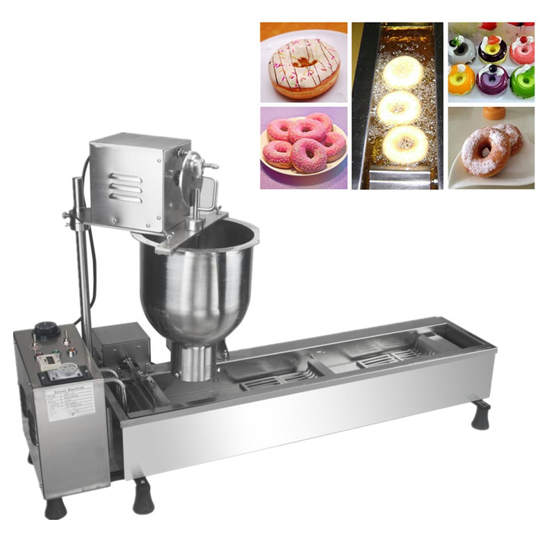 Industrial donut making machine doughnut fryer productivity 850 1200pcs hours three sizes industrial automatic donut making machines
