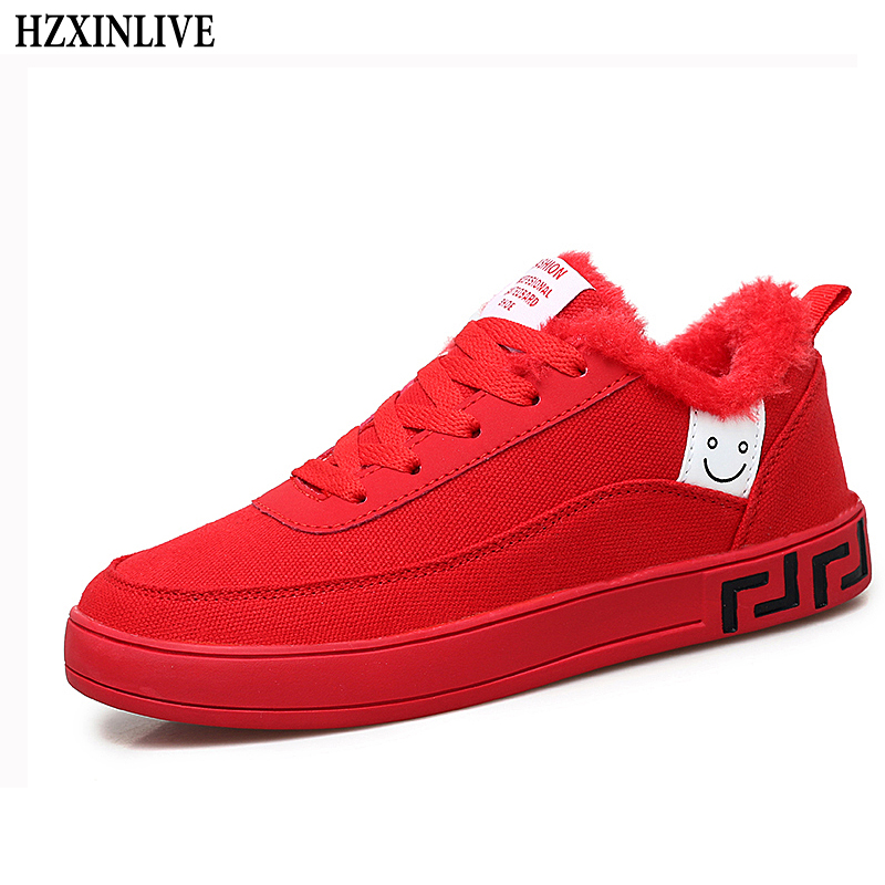 05a6d3773edbb6 HZXINLIVE 2018 Fashion Women Vulcanized Shoes Platform Sneakers Ladies  Lace-up Casual Shoes Winter Walking Canvas Plush Shoes