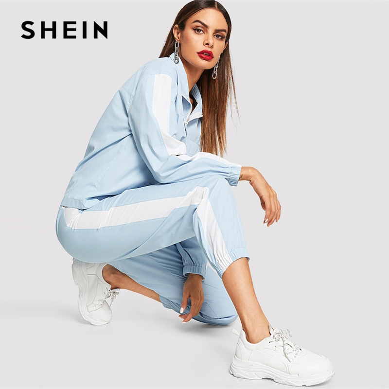 SHEIN Blue Casual White Stripe Zip Front Ruffle Stand Collar Long Sleeve Coat And Pants Co-Ord Autumn Leisure Women Two Pieces