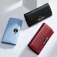 LAORENTOU Luxury Women Purse Cowhide Leather Wallets For Women Brand Design Casual Clutch Bags Card Holder Long Lady Wallet N57