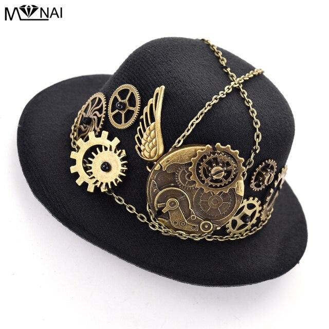 7ef479efa806a Girls Steampunk Mini Small Top Hat Hair Clip Gear Clock Wing Lolita Punk  Head Wear Dress Hats for Women