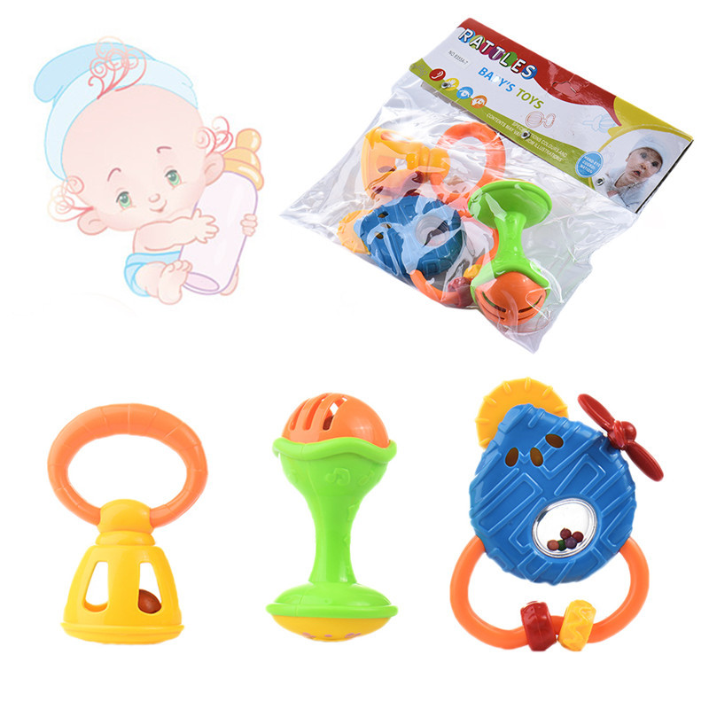 Funny Bed Baby Rattles Plastic Hand Toys and Gutta-percha Play Set Baby Rattles Toy 0-1  ...