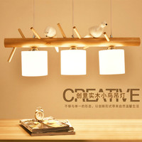 Nordic triceps of creative personality 3 birds restaurant droplight contracted solid wood modern Japanese log lamp led lamps