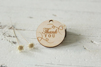 Personalised Engraved Wooden Thank You Wedding Tag Table Centerpieces Hole Mr&Mrs Surname Birthday Present Favor 1