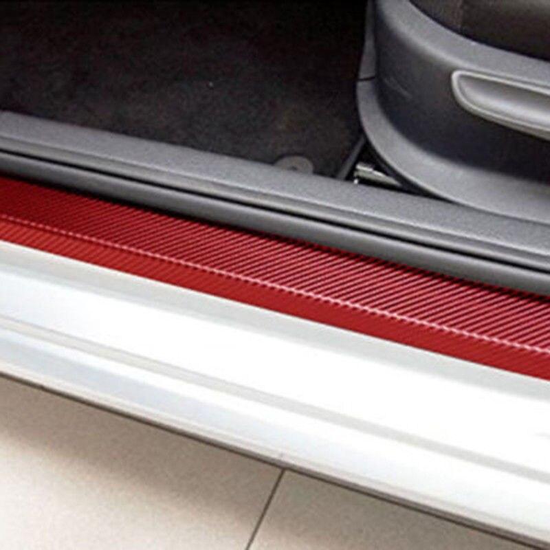 4pcs Carbon Fiber Car Door Sill Scuff Anti-Scratch Decal Front Rear