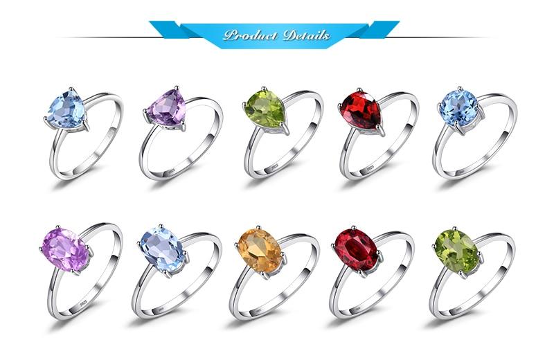 HTB17rNQmZj B1NjSZFHq6yDWpXa7 JE Genuine Amethyst Citrine Peridot Garnet Topaz Ring Solitaire 925 Sterling Silver Rings for Women Silver 925 Gemstones Jewelry