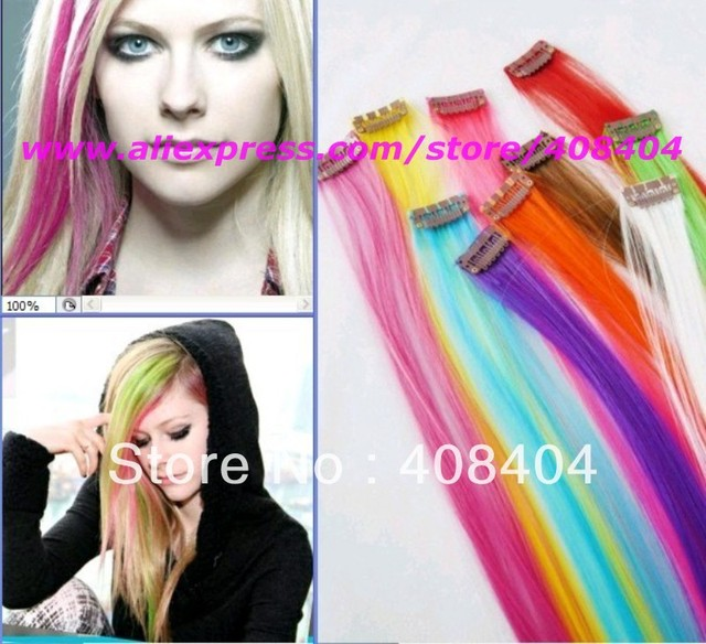 Fashion Cheap Clip In Colored Hair Extensions Synthetic Highlight