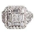Princesa de lujo Real Nutural EDI Nox 18 K Oro Blanco Diamante Anillo de Bodas de Diamante Para Las Mujeres Joyería Fina de Regalos de Navidad