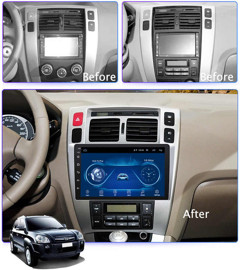 "9 ""Super Slim Touch Screen Android 8.1 radio GPS Navigatie voor Hyundai Tucson 2006-2013 Stereo Multimedia met bluetooth"
