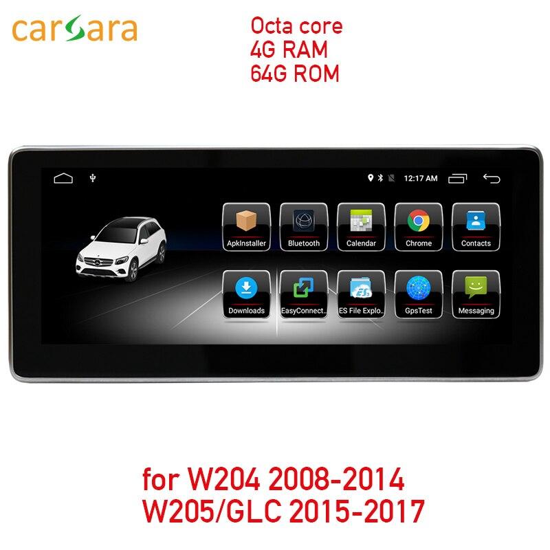 4G RAM 64G ROM écran tactile android pour C Classe W204 2008-2014 W205 GLC 10.25 affichage radio gps lecteur multimédia