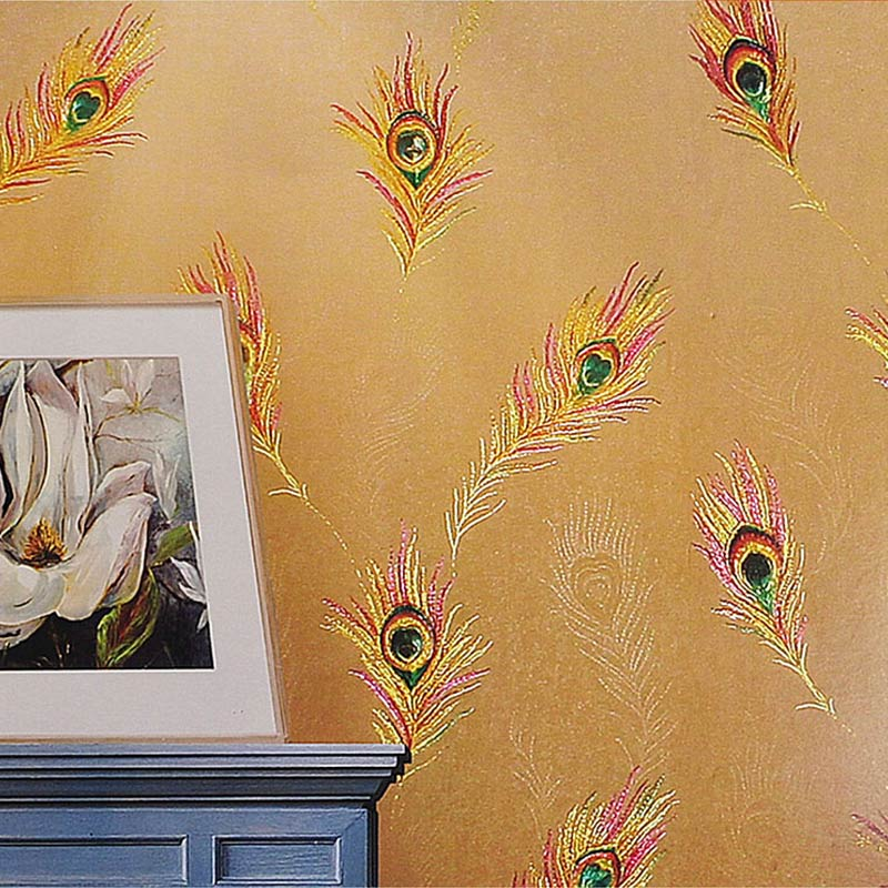 ФОТО Luxury Classic Golden Peacock Wall Paper Classic Style Deep Embossed 3D Moisture-Proof Wall Paper Living Room Bedroom Home Decor