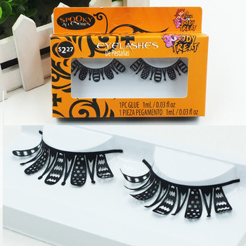 1 Pair Exaggerated Super Cool False Eyelashes Stage Show Fashion Black Handmade Paper Cut Fake Eyelashes Makeup Extension Tool