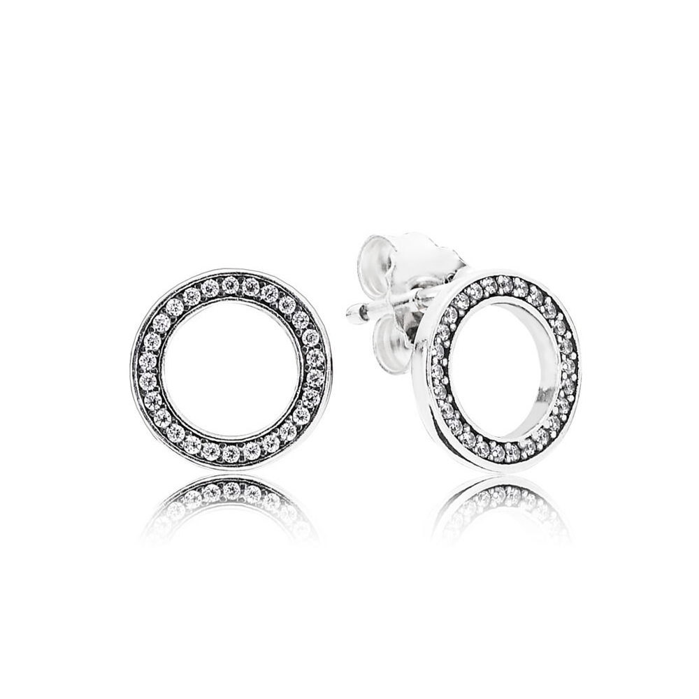 NEW 100% Sterling silver 1:1 Glamour 290585CZ FOREVER SILVER & ZIRCONIA EARRING Original Women wedding Fashion Jewelry 2018