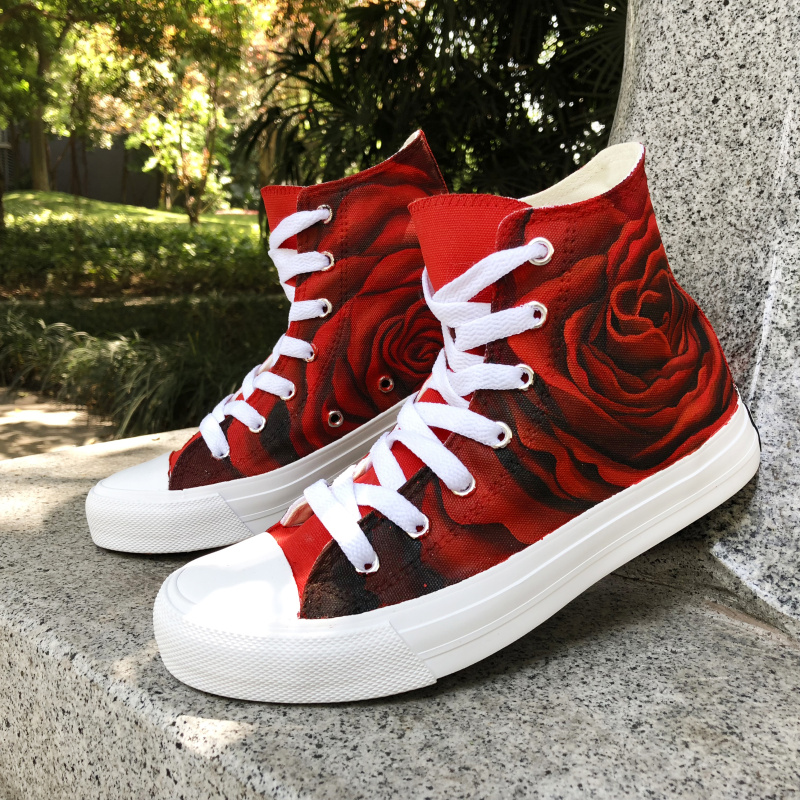 Wen Hand Painted Red Rose Canvas Shoes Classic High Top Sneakers Romantic Gifts Flower Floral Original Design Graffiti Plimsolls wen sneakers colorful ice cream hand painted canvas shoes white high top plimsolls original design graffiti single shoes flat