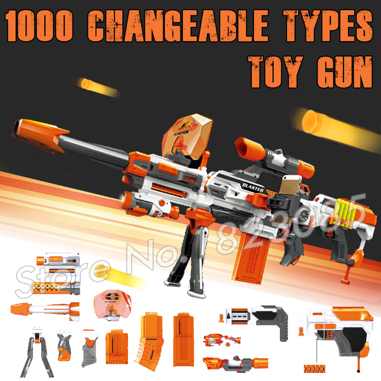 1000 Changeable Combination Big Machine Guns Bursts Foam EVA Electric Gun Soft Bullets Toy Compitable with N-Strike Modulus soft foam bullets whistle for gun pistol toy orange blue 10pcs
