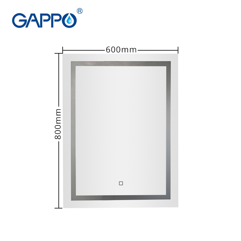 Gappo Bath Mirrors wall mounted Led Round cosmetic mirror square Led bathroom make up touch switch  mirror light adjustable 1