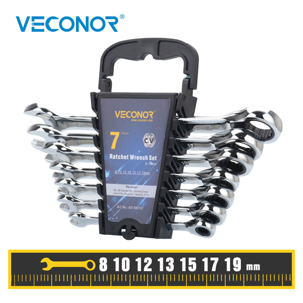 8-19mm Ratchet Wrench Set Open End Combination Ratcheting Spanner Keys Car Repair Hand Tools Kit Metric 8 10 12 13 15 17 19mm стоимость