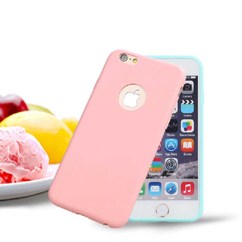 מקורי סוכריות רך סיליקון מקרה עבור iPhone 6 6 S 7 8 בתוספת X XR XS מקסימום 6 בתוספת 6 SPlus 7 בתוספת חמוד סוכריות גומי כיסוי עם חור לוגו