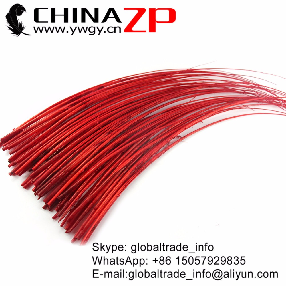 CHINAZP 100pcs/lot Size 50-60cm (20-24) Top Quality Dyed Red Ostrich Quill Spine Feathers for Mardi Gras Costume