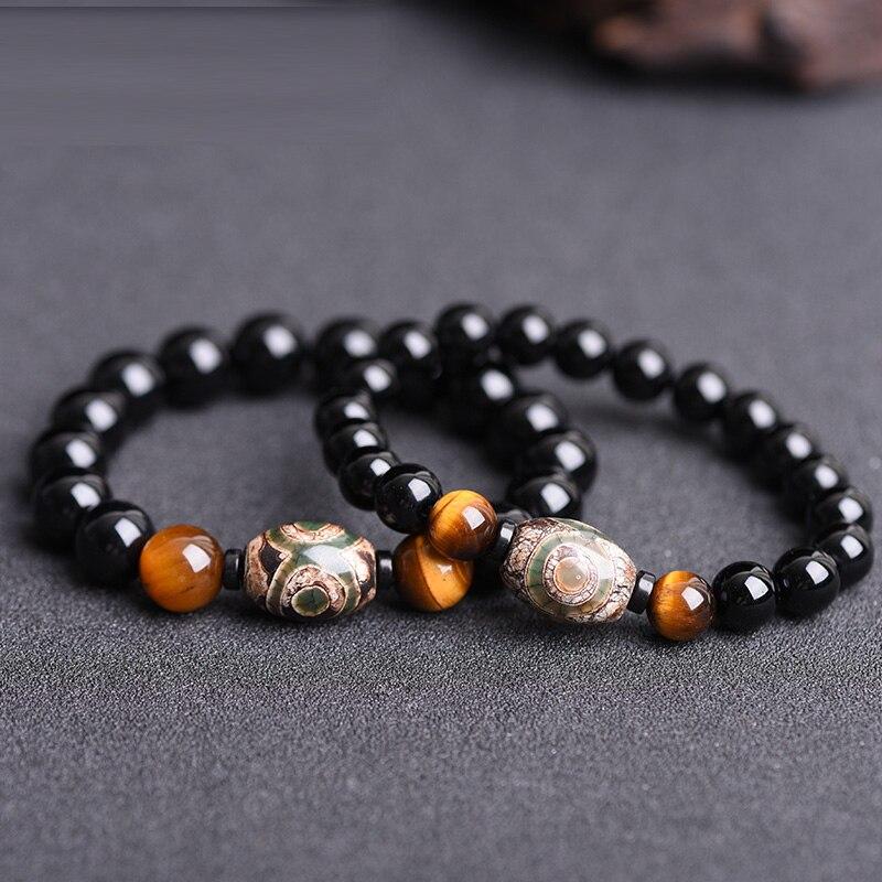 Natural Black Chalcedony Stone Jades Bracelets Tiger Eye Duddha Bracelets Hand String Bangles Lover Fashion Jades Stone Jewerly