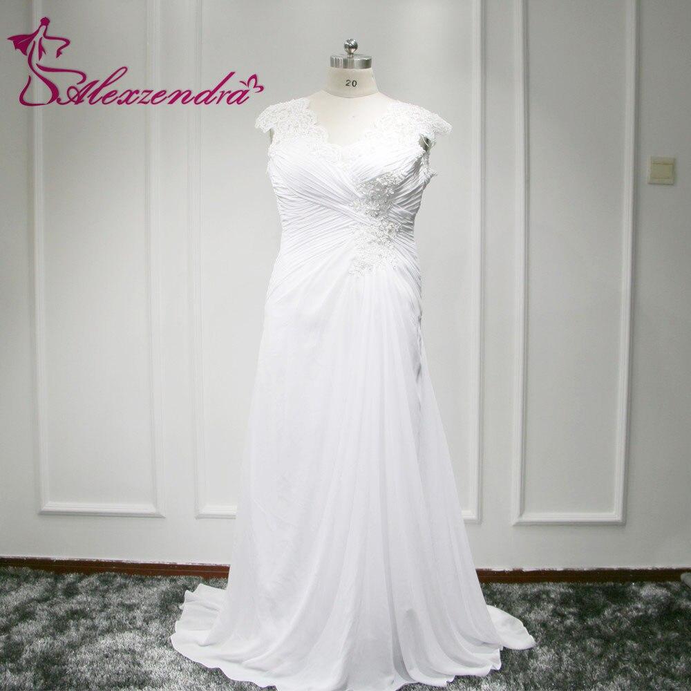 New 2016 Arrival In Stock Dress Elegant Applique Wedding Dresses Chiffon vestidos de novia Plus Size