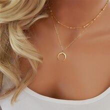 1 шт., Золотое серебряное Двухслойное ожерелье, длинное полумесяц, полумесяц, ожерелье с двойным Рогом, женское очаровательное ювелирное изделие, подарок