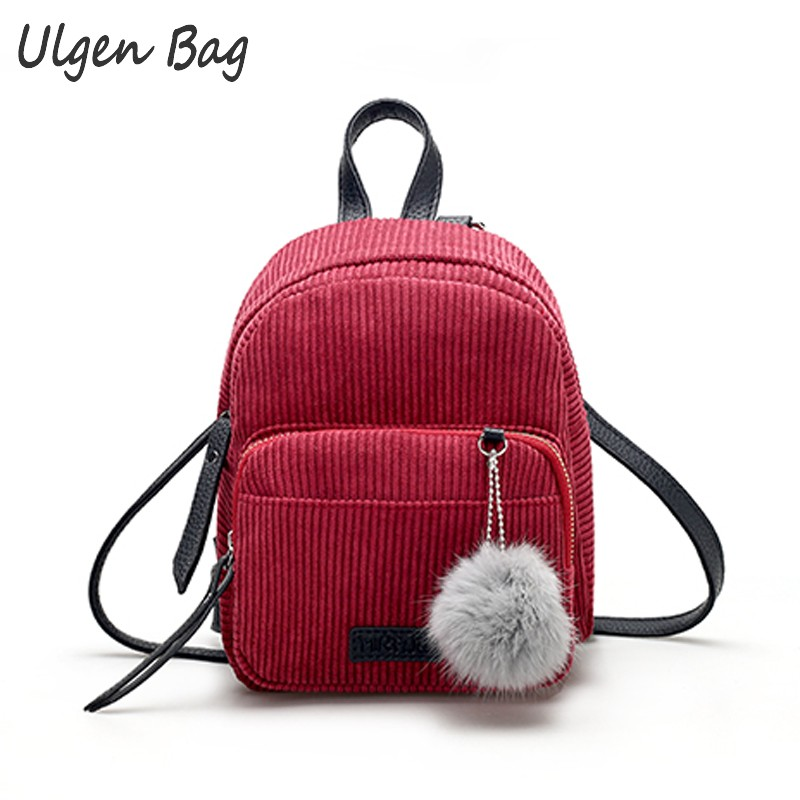 Women Leather Backpacks Schoolbags Travel Small Bag Corduroy Mini Backpack For Teenage Girls Shoulder Bag With Fur Plush Pendant korean women backpacks travel package black soft pu leather shoulder bag schoolbags for teenage girls female leisure bag mochila