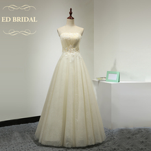 A Line Strapless Champagne Wedding Dress with Sequined Appliques Tulle over Sequined Fabric Floor Length Wedding Gown