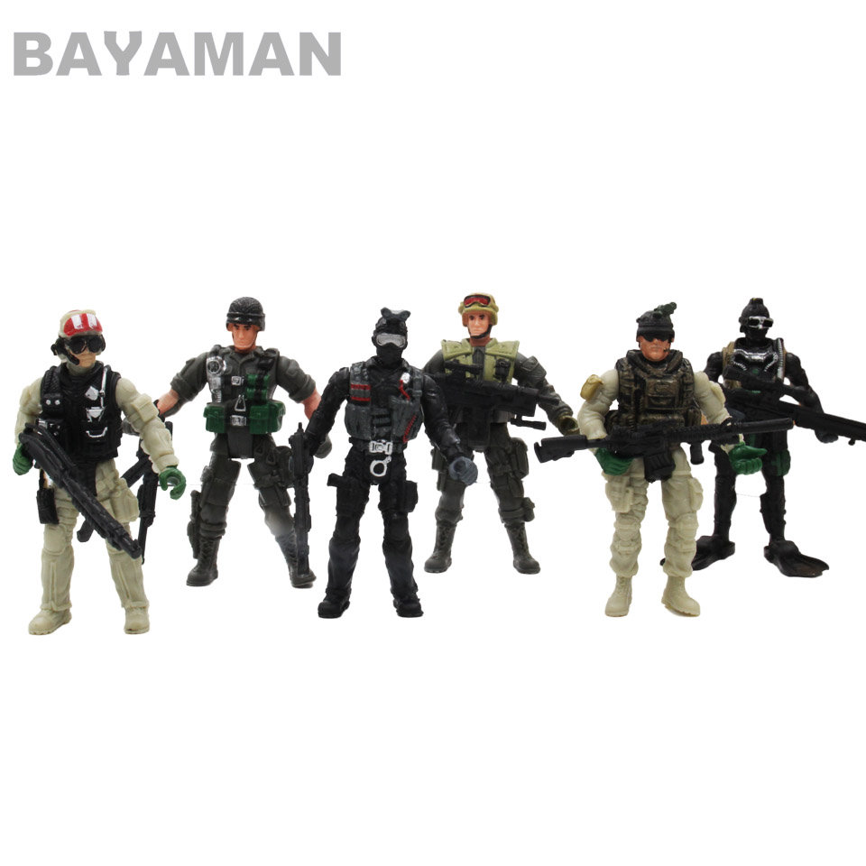 6pcs American Soldiers Military Model Toy Heroic Soldier Modeling Movable Joints Toys for Boys Gift Children