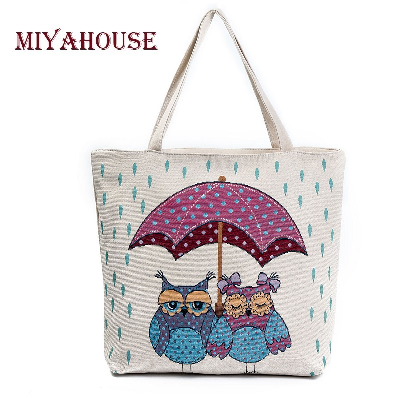 Miyahouse Summer Beach Bag Women Large Capacity Shopping Bag Handbag Female Cute Owl Print Canvas Shoulder Bag Lady Casual Totes miyahouse cute cat printed beach bag women large capacity shopping bags vintage female single shoulder bag canvas ladies handbag