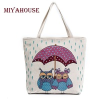 Miyahouse Summer Beach Bag Women Large Capacity Shopping Bag Handbag Female Cute Owl Print Canvas Shoulder