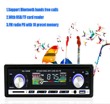 100% Original Car Radio Stereo Player Bluetooth Phone AUX-IN MP3 FM/USB/1 Din/Remote Control Iphone 12V Car Audio Car Electronic