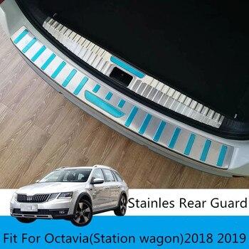 Paslanmaz çelik Arka Tampon Gövde Koruma Kapı Eşik Plaka Araç Şekillendirici Aksesuarları Fit Için Skoda Octavia Station Wagon 2018 2019