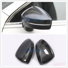 цена на For Volkswagen VW Tiguan 2017 2018 Carbon Fiber Color Rear View Overlay Panel Door Mirror Cover Chrome Car Styling Accessories