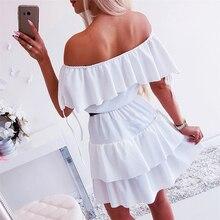 Cascading Ruffles Patchwork Off Shoulder Short Sleeve Dress