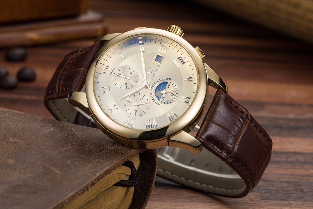 TEVISE Top Brand Luxury Watch Men Automatic Mechanical watches Leather Men Watches цена и фото