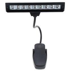 9 LEDs lampka do czytania LED czytanie oświetlenie biurka lampa mocowana na klips na fortepian partytura stand Black