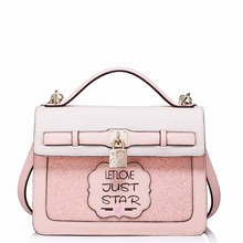Bag Padlock Charm Paillette Convertible Tote Middle Size Shoulder Bags Leather Women Handbags Pink Sequins Bolsas Femininas Sac