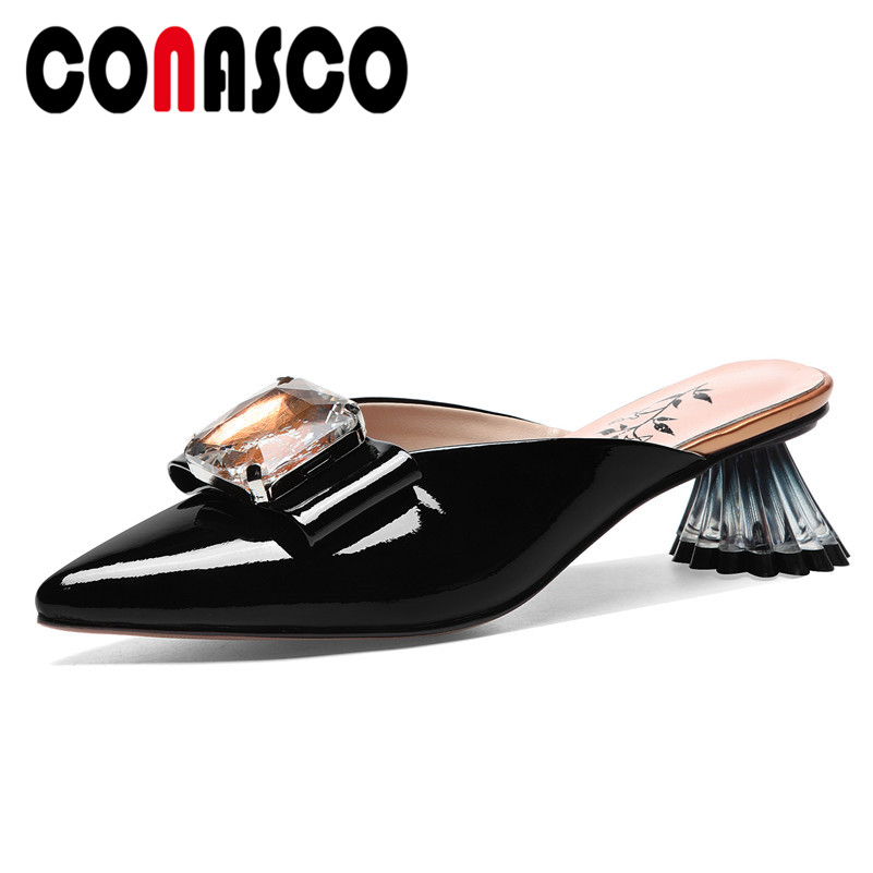 CONASCO New Elegant Butterfly Knot Decoration Women Pumps 2019 Summer Pointed Toe Crystal High Heels Wedding Casual Shoes Woman
