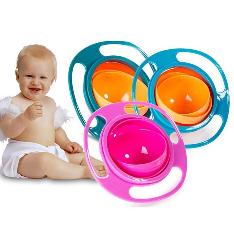Retail Baby Feeding Dishes Cute Toy Baby Gyro Bowl Universal 360 Rotate Spill-Proof Dishes Children's Baby Tableware New