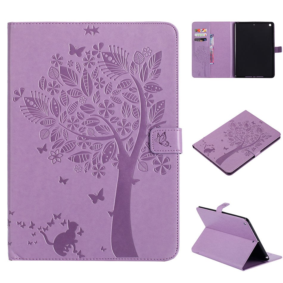 Case For Apple Ipad 9.7 2017 5Th 6Th Generation Cases Cover A1822 A1954 Funda Tablet Cat Tree Pattern Stand Shell +Film+Pen