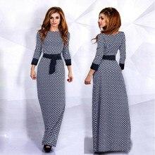 Sexy lady печати мусульманин платье вечера партии элегантный шею платья длина пола с длинным рукавом макси vestidos де verano бесплатная корабль