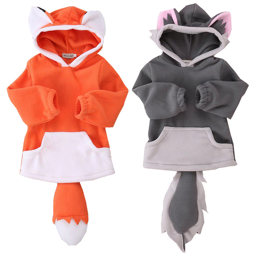 Newborn Baby Kids Girls Boys Clothes Long Sleeve Fox Cartoon Pullover Hoodie Cotton Sweater Cute Big Tail Clothes Clothing 0-24M