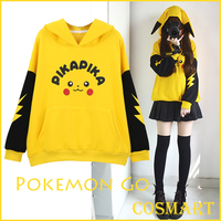 [STOCK]Pokemon Go! Pikachu cosplay costume Cotton Fleece Hoodie Long Sleeve Pullover Winter Coat NEW Free ship