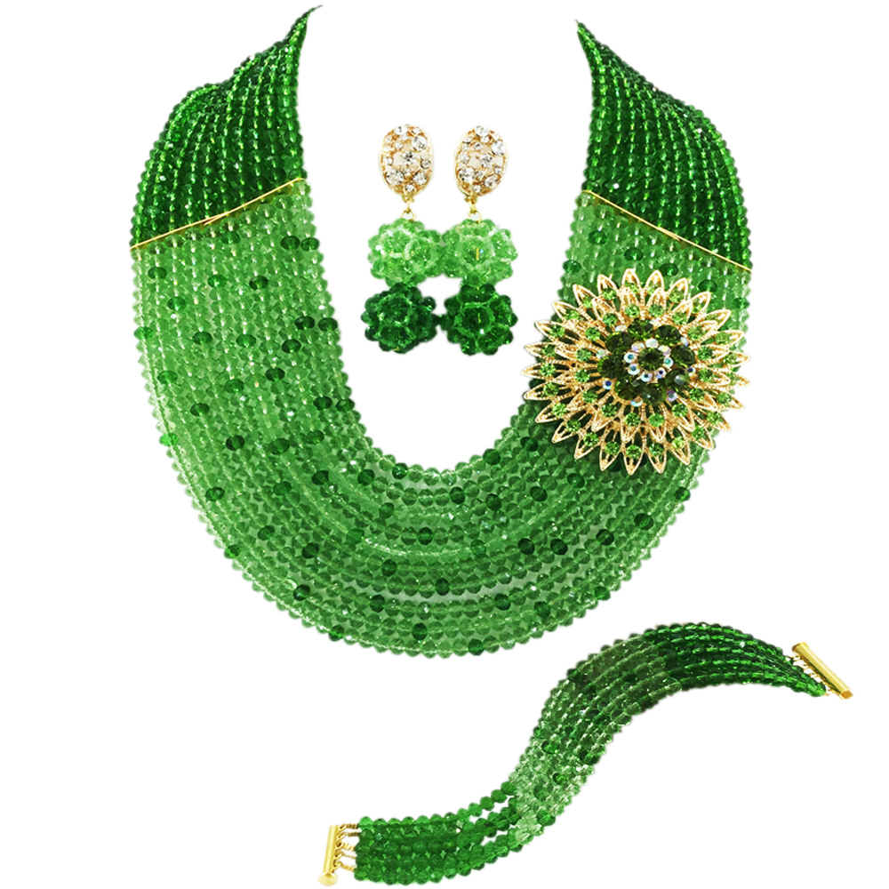 Fashion Green Light Green Crystal Beads African Jewelry Set Nigerian Wedding Necklace Sets 10C-SZ53Fashion Green Light Green Crystal Beads African Jewelry Set Nigerian Wedding Necklace Sets 10C-SZ53